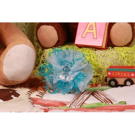 Ourson sur tulle bleu filet - Boîtes à dragées - Dragées Braquier