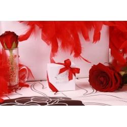 Caritas blanche et ruban rouge - Boîtes à dragées - Dragées Braquier