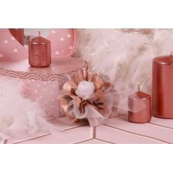 Fleur blanche sur tulle cuivré - Boîte à dragées Mariage