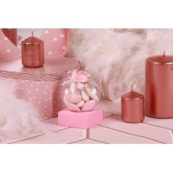 Fleur rose sur cœur - Boîtes à dragées - Dragées Braquier