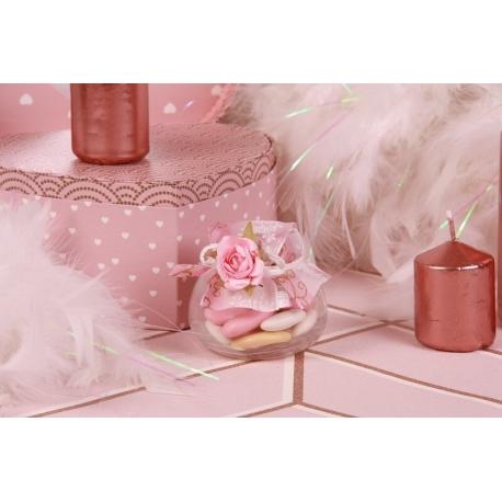 Fleur rose sur pot - Boîte à dragées Mariage