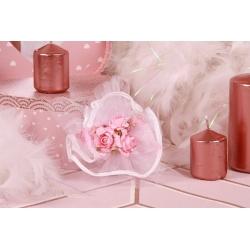 Bouquet rose sur tulle arabesque - Boîtes à dragées - Dragées Braquier