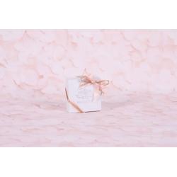 Caritas blanc et  rubans rose et or - Boîtes à dragées - Dragées Braquier