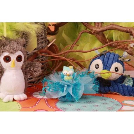 Hibou bleu sur tulle - Boîtes à dragées - Dragées Braquier