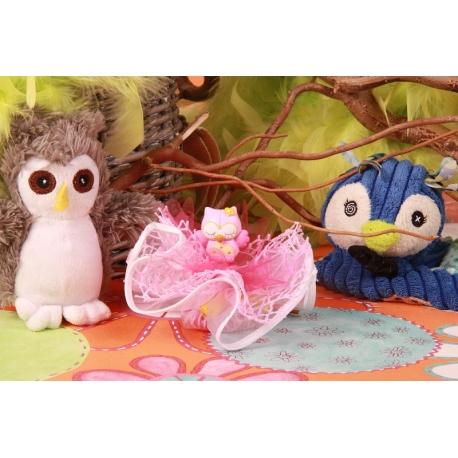Hibou rose sur tulle - Boîtes à dragées - Dragées Braquier