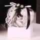 Fleurette noire sur cœur - Boîtes à dragées - Dragées Braquier