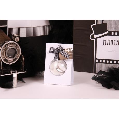 Clap sur portant boule blanc - Boîtes à dragées - Dragées Braquier