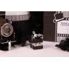Perles sur mini cube duo noir - Boîtes à dragées - Dragées Braquier