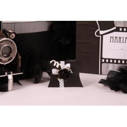 Fleur noire sur mini Sonia à pois - Boîtes à dragées - Dragées Braquier