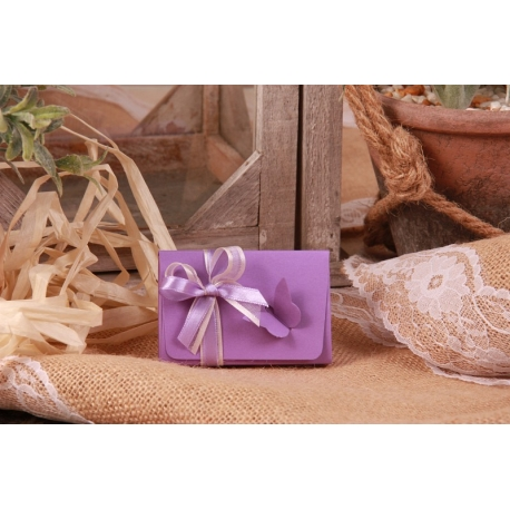 Boîte papillon lilas en relief - Boîtes à dragées - Dragées Braquier