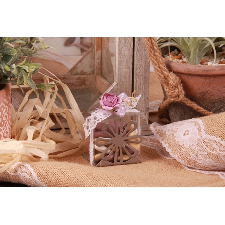 Fleur lilas sur support métal gris - Boîtes à dragées - Dragées Braquier