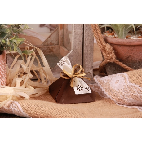 Florette brune - Boîtes à dragées - Dragées Braquier
