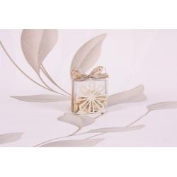 Boite sur fleur métal ivoire - Boîtes à dragées - Dragées Braquier