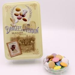"""Disque Chocolat, Boîte métal """"Amour et Gourmandises"""" 400 g - Dragées Braquier, confiseur chocolatier à Verdun"""