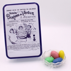 "Giant Dragee, ""Braquier Certified"" metal-box 400 g - Dragées Braquier, confiseur chocolatier à Verdun"