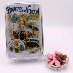 "Praline Surfine, ""Braquier Poster"" metal-box 400 g - Dragées Braquier, confiseur chocolatier à Verdun"