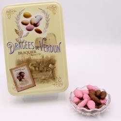 """Praline surfine, Boîte métal """"Amour et Gourmandises"""" 400 g - Dragées Braquier, confiseur chocolatier à Verdun"""