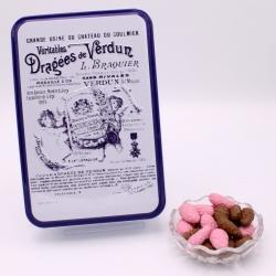 """Praline surfine, Boîte métal """"Certifiées Braquier"""" 400 g - Dragées Braquier, confiseur chocolatier à Verdun"""