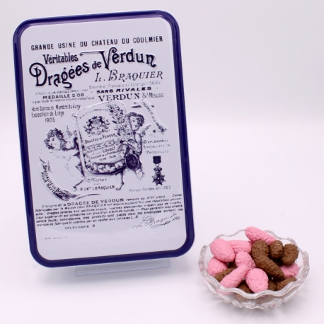 "Praline Surfine, ""Braquier Certified"" metal-box 400 g - Dragées Braquier, confiseur chocolatier à Verdun"