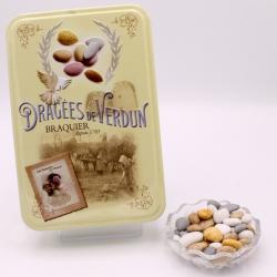 """Caillou Lorrain, Boîte métal """"Amour et Gourmandises"""" 400 g - Dragées Braquier, confiseur chocolatier à Verdun"""