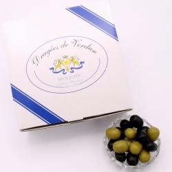 Olives, Cardboard-box 1 kg - Dragées Braquier, confiseur chocolatier à Verdun