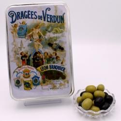 """Olives, """"Braquier Poster"""" metal-box 400 g - Dragées Braquier, confiseur chocolatier à Verdun"""