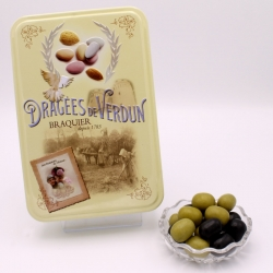 "Olives, ""Love and Sweets"" metal-box 400 g - Dragées Braquier, confiseur chocolatier à Verdun"