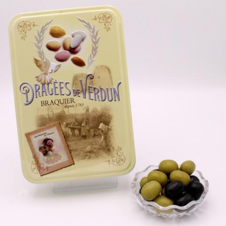 """Olives, Boîte métal """"Amour et Gourmandises"""" 400 g - Dragées Braquier, confiseur chocolatier à Verdun"""