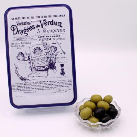 """Olives, Boîte métal """"Certifiées Braquier"""" 400 g - Dragées Braquier, confiseur chocolatier à Verdun"""