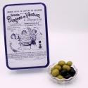 """Olives, Boîte métal """"Certifiées Braquier"""" 400 g"""