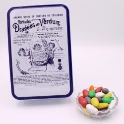 """Choc'Amande, Boîte métal """"Certifiées Braquier"""" 400 g - Dragées Braquier, confiseur chocolatier à Verdun"""