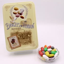 "Choc'Amande, ""Love and Sweets"" metal-box 400 g - Dragées Braquier, confiseur chocolatier à Verdun"