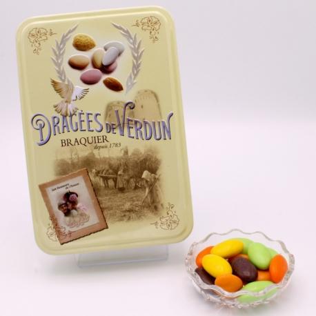 """Pâte de fruits, Boîte métal """"Amour et Gourmandises"""" 400 g - Dragées Braquier, confiseur chocolatier à Verdun"""