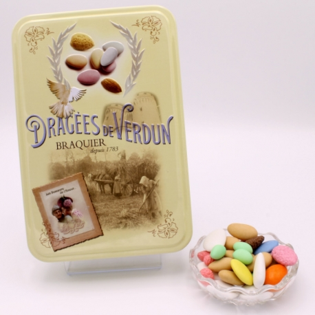 "Premium, ""Love and Sweets"" metal-box 400 g - Dragées Braquier, confiseur chocolatier à Verdun"