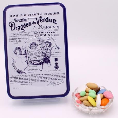 """Premium, Boîte métal """"Certifiées Braquier"""" 400 g - Dragées Braquier, confiseur chocolatier à Verdun"""