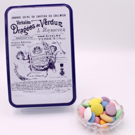 """Royal Dégustation, Boîte métal """"Certifiées Braquier"""" 400 g - Dragées Braquier, confiseur chocolatier à Verdun"""