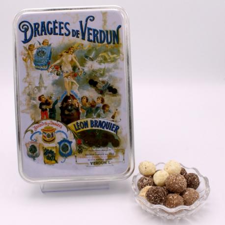 """Léon Braquier Coconut, """"Braquier Poster"""" metal-box 400 g - Dragées Braquier, confiseur chocolatier à Verdun"""