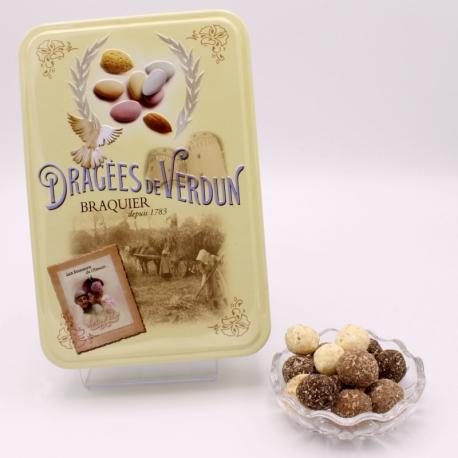 """Noix de Coco, Boîte métal """"Amour et gourmandises"""" 400 g - Dragées Braquier, confiseur chocolatier à Verdun"""
