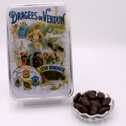 """Braquine, Boîte métal """"Affiche"""" 400 g - Dragées Braquier, confiseur chocolatier à Verdun"""