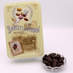 """Braquine, Boîte métal """"Amour et Gourmandises"""" 400 g - Dragées Braquier, confiseur chocolatier à Verdun"""