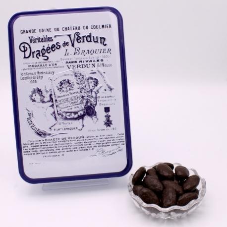 """Braquine, Boîte métal """"Certifiées Braquier"""" 400 g - Dragées Braquier, confiseur chocolatier à Verdun"""