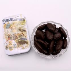 """Braquine mirabelle, mini-Boîte métal """"Affiche"""" 60 g - Dragées Braquier, confiseur chocolatier à Verdun"""