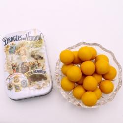 """Perle mirabelle, mini-Boîte métal """"Affiche"""" 60 g - Dragées Braquier, confiseur chocolatier à Verdun"""