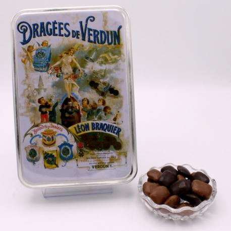 """Pavé, Boîte métal """"Affiche"""" 400 g - Dragées Braquier, confiseur chocolatier à Verdun"""