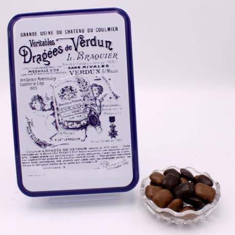 """Pavé, """"Braquier Certified"""" metal-box 400 g - Dragées Braquier, confiseur chocolatier à Verdun"""