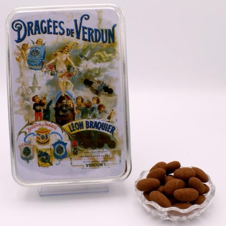 """Léontine cacao, Boîte métal """"Affiche"""" 400 g - Dragées Braquier, confiseur chocolatier à Verdun"""