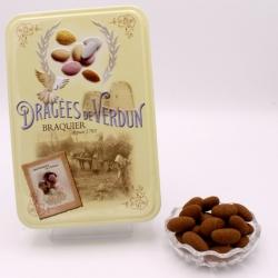 """Léontine cacao, Boîte métal """"Amour et Gourmandises"""" 400 g - Dragées Braquier, confiseur chocolatier à Verdun"""