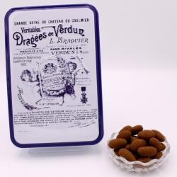 """Léontine cacao, Boîte métal """"Certifiées Braquier"""" 400 g - Dragées Braquier, confiseur chocolatier à Verdun"""