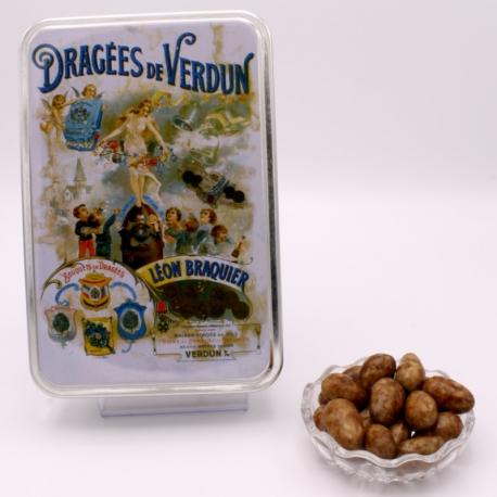 "3 Chocolates Léontine, ""Braquier Poster"" metal-box 400 g - Dragées Braquier, confiseur chocolatier à Verdun"