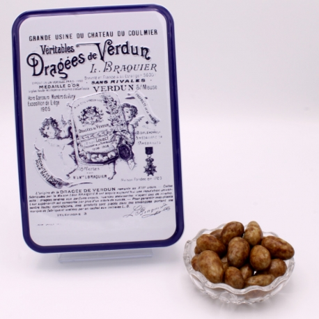 "3 Chocolates Léontine, ""Braquier Certified"" metal-box 400 g - Dragées Braquier, confiseur chocolatier à Verdun"